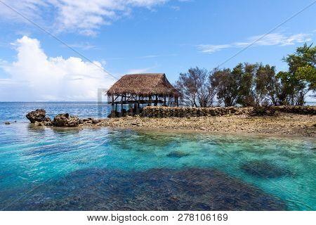 Authentic Bungalow Of Native Aborigines Micronesian People. Reef Coral Island Motu. Blue Azure Turqu