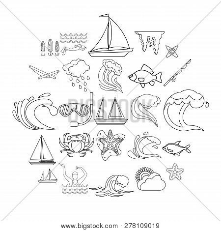 Overwater Icons Set. Outline Set Of 25 Overwater Icons For Web Isolated On White Background