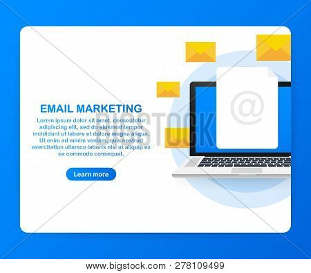 Email Marketing Campaign, Newsletter Marketing, Drip Marketing. Vector Stock Illustration.
