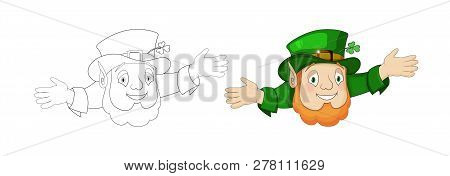 Cartoon Leprechaun In Green Frock Coat With Hat And Cheerful Presentation
