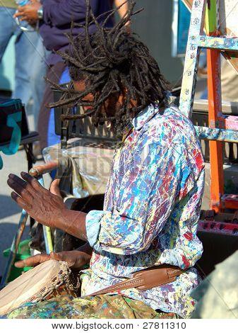 Street performing drummer