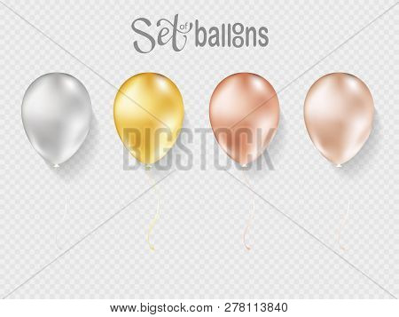 Balloons Isolated On Transparent Background. Vector Realistic Helium Golden Rose, Glossy Gold And Wh