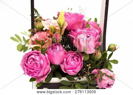 Bouquet Of Flowers In A Box, Booker Of Roses For Mother's Day. Rose In A Gift Box. Flowers On March