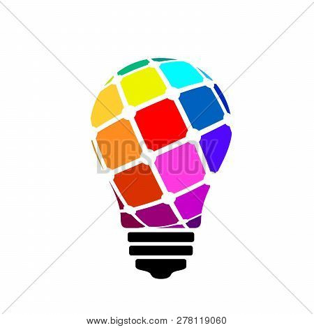 Light Bulb Icon Isolated On White Background. Bulbs Logo Vector. Light Bulb Sign In Flat Style. Ligh