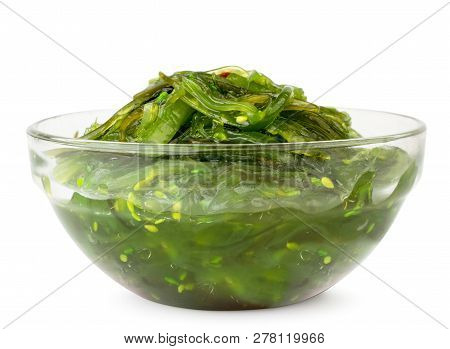 Chuk Salad In A Glass Plate On A White Background. Isolated.