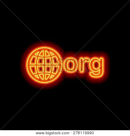 One Of First Domains For Non-profit Organization, Globe And Org. Orange Neon Style On Black Backgrou