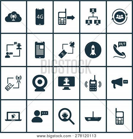 Communication Icons Set With Online Communication, Mobile Phone, Outgoing And Other Magnifying Eleme