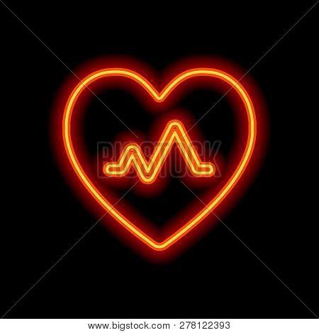 Cardiac Pulse. Heart And Pulse Line. Simple Single Icon. Orange Neon Style On Black Background. Ligh