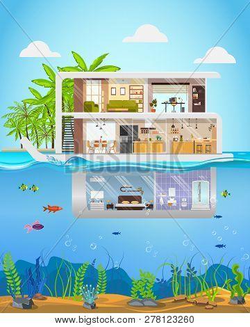 Luxury Real Estate Property Flat Vector. Futuristic Three-storey Villa, Cottage On Tropical Coast Or