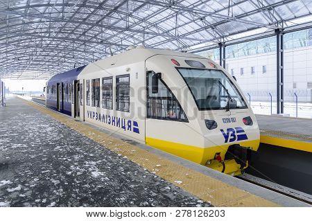 Kyiv, Ukraine - 07/01/2019: Kyiv Boryspil Express Train. Newly Built High-speed Railway Between Bory