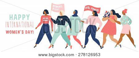 Happy Women Or Girls Standing Together And Holding Hands. Group Of Female Friends, Union Of Feminist
