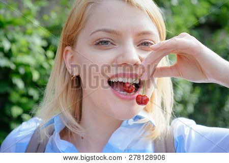 For A Beautiful And Healthy Smile. Sensual Woman With White Smile. Happy Woman Hold Cherry Berries I