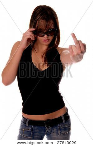 Super sexy female model looking over the top of her sunglasses and flipping off the camera