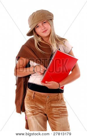 August means Back To School,  Stylish young  Middle School student with text books in her arm and her coat over her shoulder isolated over white.