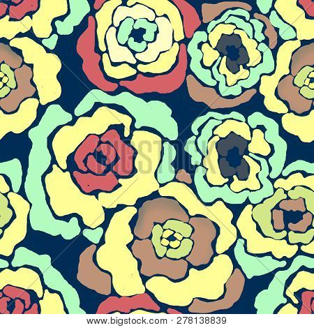 Seamless Floral Flowers Colorful Modern Brush Pattern Background
