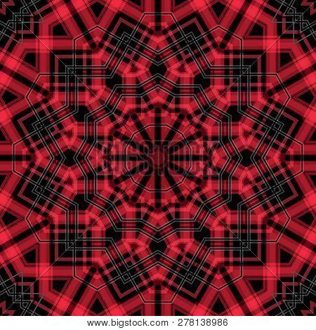 Seamless Checkered Plaid Tartan Kaleidoscope Pattern Background