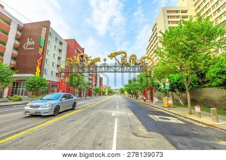 Los Angeles, California, United States - August 9, 2018: Twin Golden Dragon, The Main Gate Above The