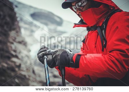 Caucasian Climber In His 30s On Mountain Trailhead.
