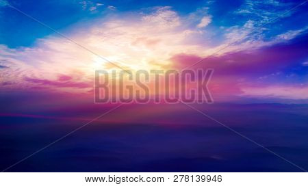 Light About The Sky . Paradise Heaven .  Dramatic Nature Background . Beautiful Cloud .   Way To Hea