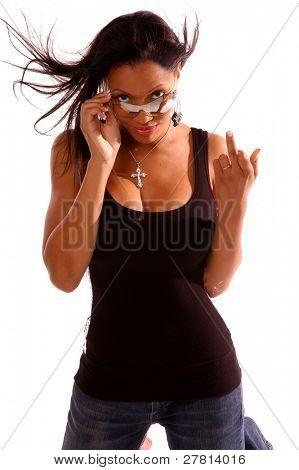 Sexy African American woman in casual fashion flipping the camera off