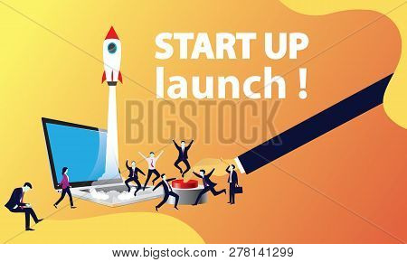 Vector Illustration. Business Startup Project Concept. Rocket Launching To The Sky, Modern Technolog