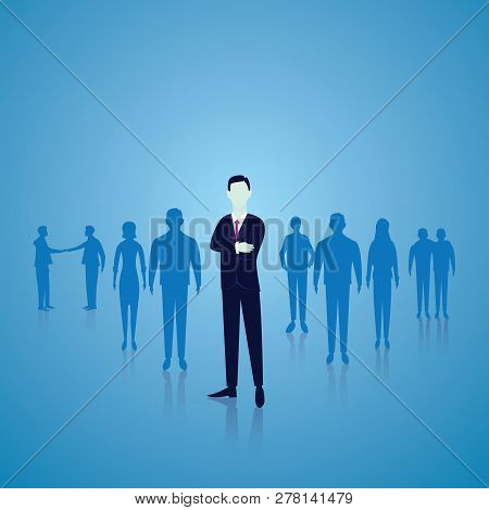 Vector Illustration. Business Team Leader Leadership Teamwork Concept. A Leader Stand Out In The Fro