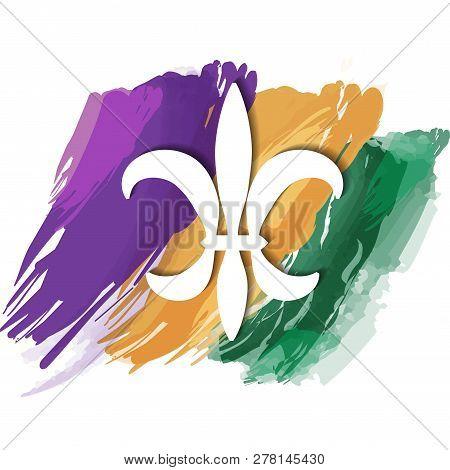 Mardi Gras symbol the fleur-de-lis in the background with artistic brush strokes.