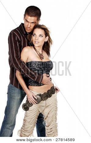 Glamorous couple fashionably dressed