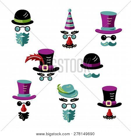 Set Of Men Images With Hats And Mustaches. Flat And Outline Style Vector Illustration.