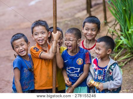Bam Phoansa At , Laos - Aug 14 : Laotian Children From The Village Bam Phoansa At , Laos On August 1