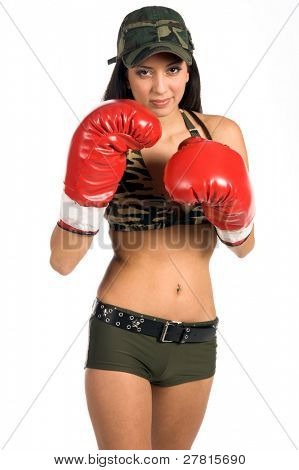 Beautiful and sexy young Latina woman in  a camouflage bikini and boxing gloves