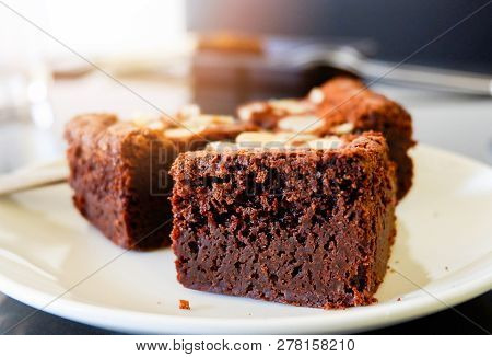 Brownies Cake On The Table / Piece Of Chocolate Cake Cocoa With Nut On Top View Brownies Slice On Wh
