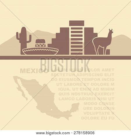 Template Leaflets With A Map And Symbols Of The Mexico And Place For Text