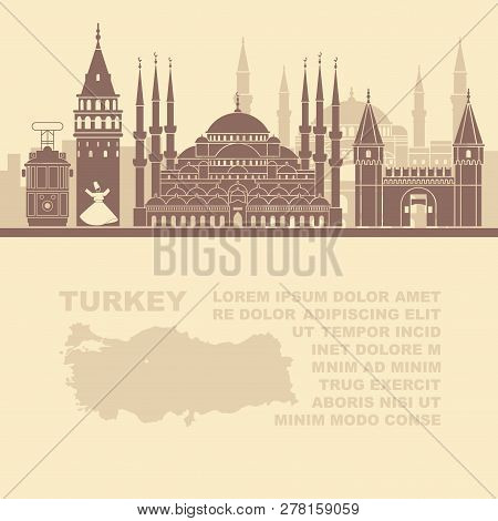 Template Leaflets With A Map Of Turkey And Landmarks Of Istambul