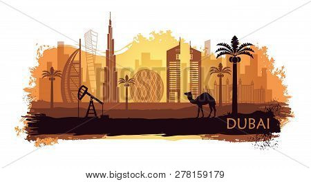 Stylized Kyline Of Dubai With Camel And Date Palm With Spots And Splashes Of Paint. United Arab Emir