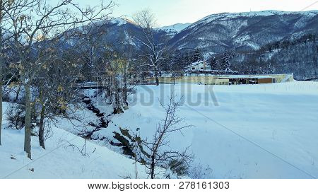 Monti Sibillini National Park In The Winter Season With Snow