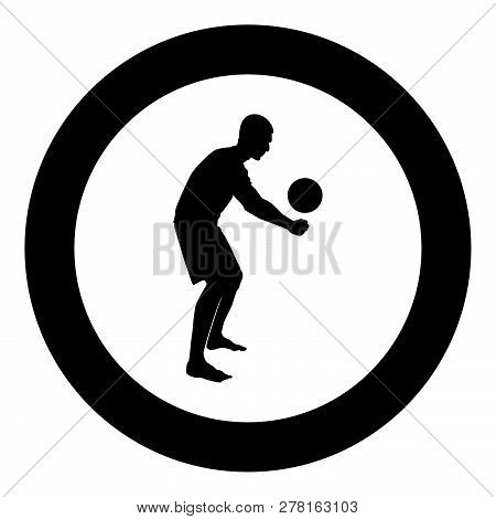 Volleyball Player Hits The Ball With Bottom Silhouette Side View Attack Ball Icon Black Color Vector
