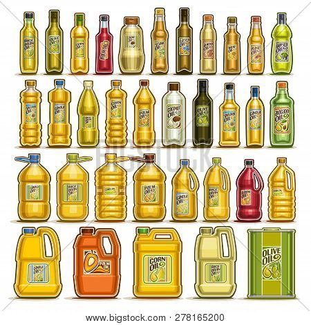 Vector Set Of Cooking Oil In Bottles, 34 Cut Out Illustration Of Containers With Refined Oily Produc