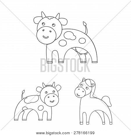 Vector Design Of Animal And Habitat Icon. Set Of Animal And Farm Vector Icon For Stock.