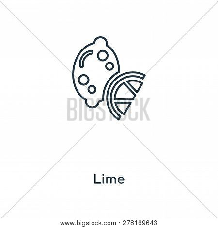Lime Icon In Trendy Design Style. Lime Icon Isolated On White Background. Lime Vector Icon Simple An