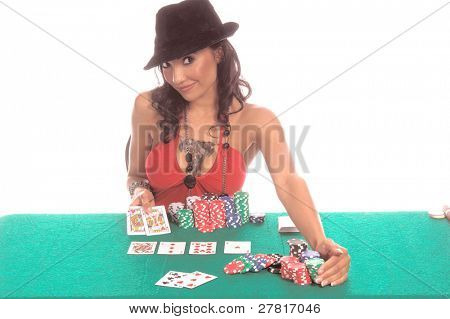 Sexy woman in a sexy low cut red blouse and  black suede fedora hat playing Texas Hold 'um poker Generic no label card backs from China