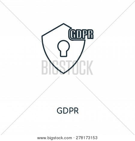 Gdpr Icon In Trendy Design Style. Gdpr Icon Isolated On White Background. Gdpr Vector Icon Simple An