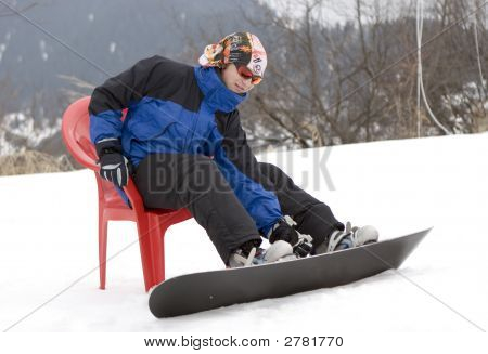 Teens Snowboarder In Bandanna In Winter Mountains Tien Shan