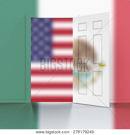Us Mexico Border Wall To Stop Illegal Immigration - 3D Illustration