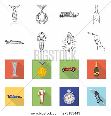 Vector Design Of Car And Rally Symbol. Collection Of Car And Race Stock Vector Illustration.