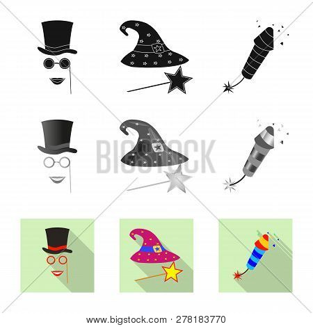 Vector Illustration Of Party And Birthday Logo. Collection Of Party And Celebration Stock Symbol For