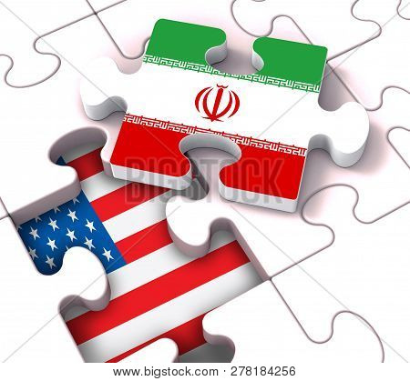 Us Iran Conflict And Sanctions Or Meeting - 3D Illustration