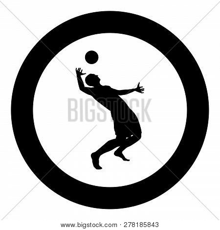 Volleyball Player Hits The Ball With Top Silhouette Side View Attack Ball Icon Black Color Vector Il