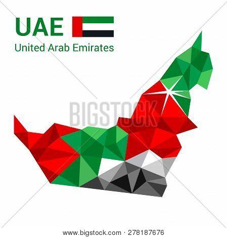 United Arab Emirates Flag Map In Polygonal Geometric Style. Vector Illustration Of United Arab Emira