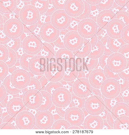 Bitcoin, Internet Currency Copper Coins Seamless Pattern. Alluring Scattered Pink Btc Coins. Success